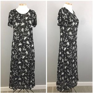Vintage | 90's Jane Ashley Black White Floral Maxi